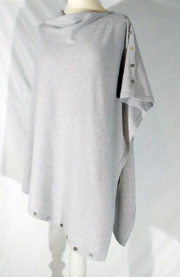 Plain Convertible Ponshawl ~ Silver Grey